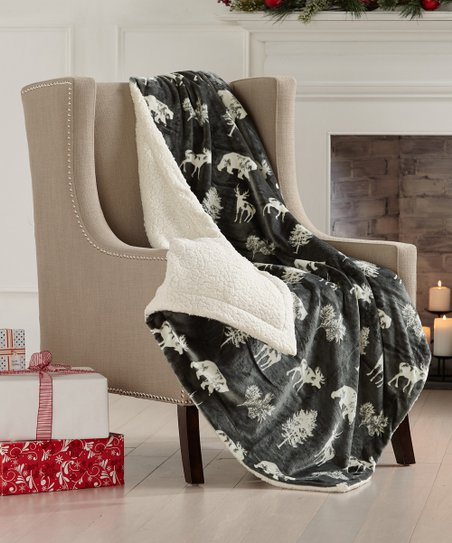 Great Bay Home Forest Animals Faux Sherpa Velvet Reversible Plush Throw Best Price And Reviews Zulily