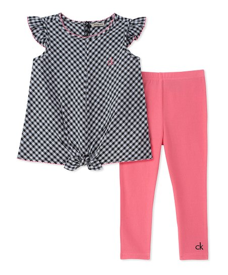 9e05906473c79 love this product Black Check Angel-Sleeve Tunic & Pink Leggings - Infant