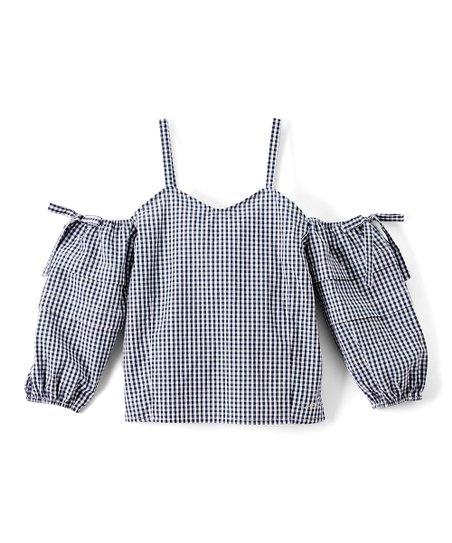 988d20cf4cd bebe Black Gingham Off-Shoulder Top - Girls | Zulily