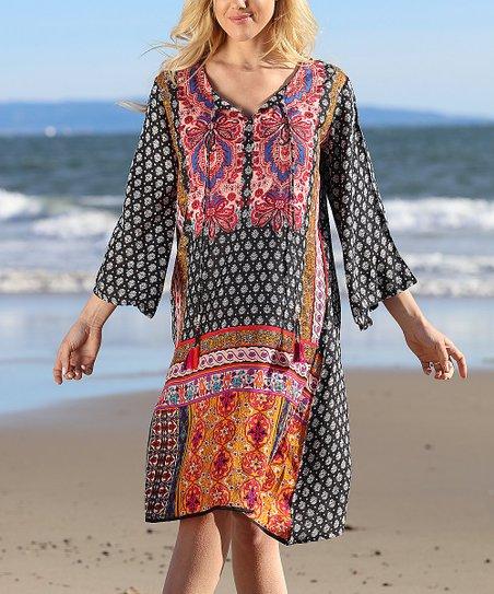 86943fa8bb Anandas Collection Black & Pink Arabesque Dress - Women   Zulily