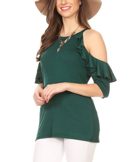 1f6027e788dbcb love this product Green Ruffle Cold-Shoulder Top