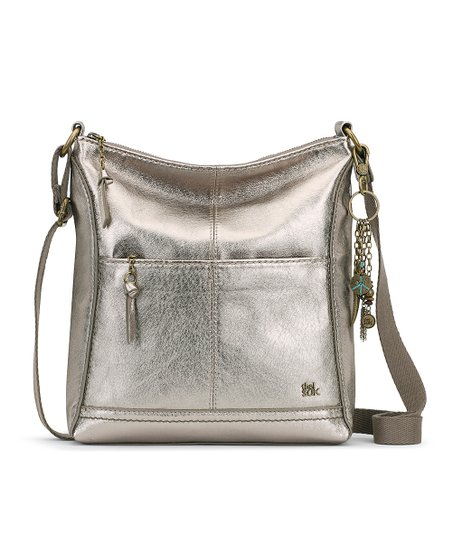 love this product Pyrite Metallic Lucia Leather Crossbody Bag