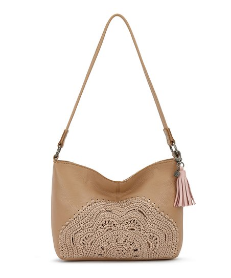 Sahara Crochet Accent Indio Leather Shoulder Bag