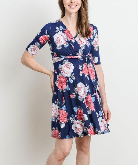 7e8d2a7e55a Hello Miz Maternity Navy Floral Maternity Wrap Dress