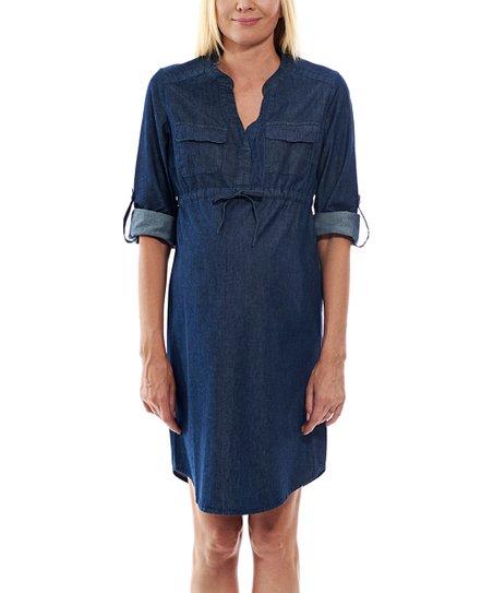 4d24d52128a Motherway Maternity Navy Maternity Roll-Tab Sleeve Shirt Dress