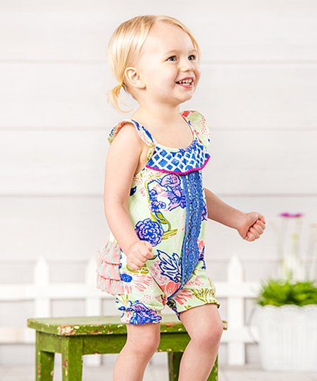 705fe87398f Matilda Jane Clothing Blue Floral Sleeveless Parachute Romper ...