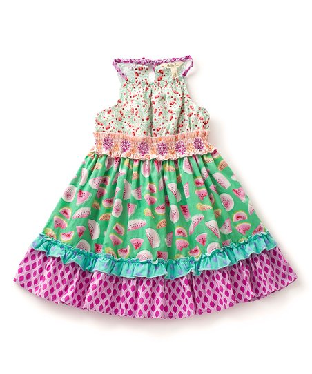 3bcfc6d46cf love this product Green   Fuchsia Slice of Life Ruffle-Accent Dress -  Toddler   Girls