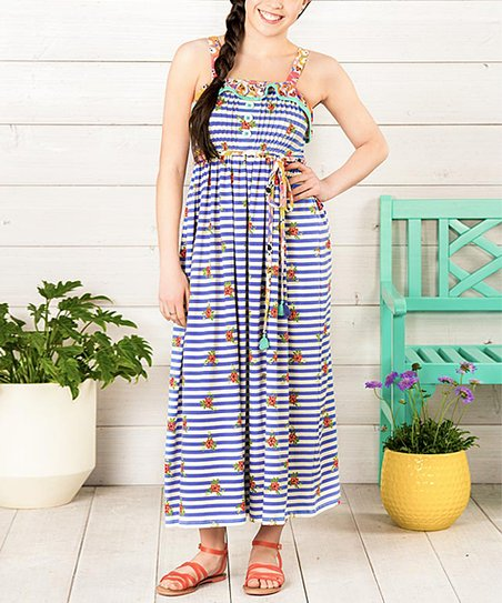 4b21b90cf117 Matilda Jane Clothing Blue Floral Stripe Endless Summer Maxi Dress ...