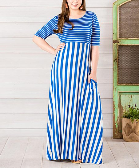 a56100688126 Matilda Jane Clothing Blue & White The Road Ahead Elbow-Sleeve Maxi ...