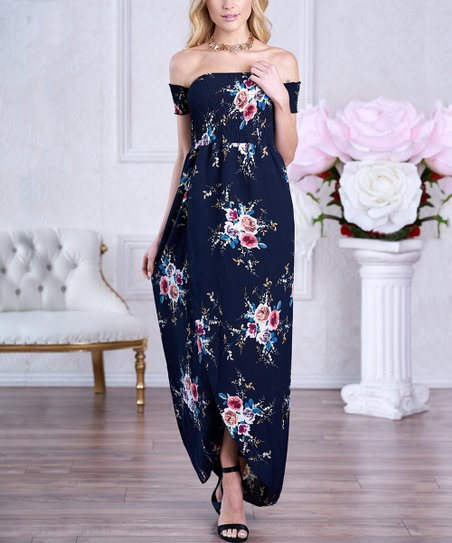 c00ba699f7e love this product Navy Blue Floral Shirred-Bodice Off-Shoulder Maxi Dress -  Women