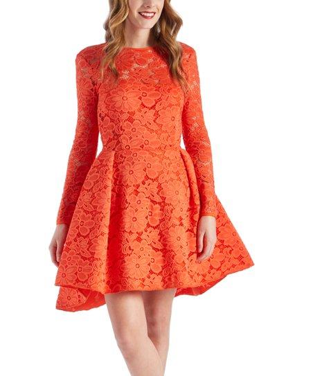 de8588856b9a4c Issue New York Orange Lace Hi-Low Dress - Women | Zulily