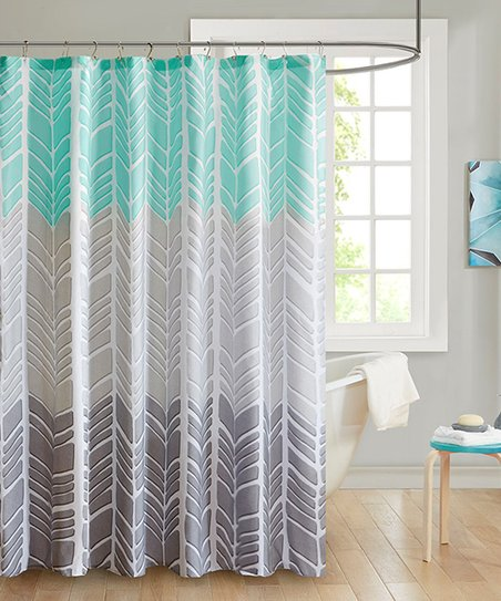 Aqua Gray Geometric Color Block Shower Curtain
