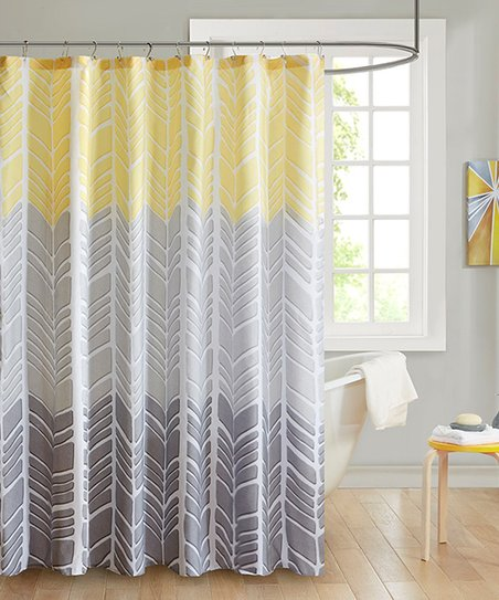 Love This Product Yellow Gray Geometric Color Block Shower Curtain