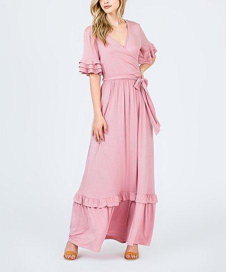 b35a2937e 42POPS Blush Ruffle Waist-Tie Maxi Dress - Women | Zulily