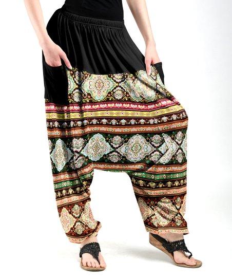 bc6fe1665 Lily Black   Mint Geometric Harem Pants - Plus