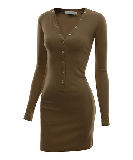 989b72d5c93 love this product Mocha Snap-Front V-Neck Bodycon Dress - Women