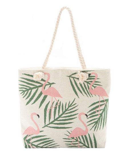 Off White Pink Flamingo Tote Bag