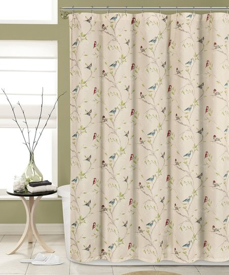 Beige Songbird Shower Curtain