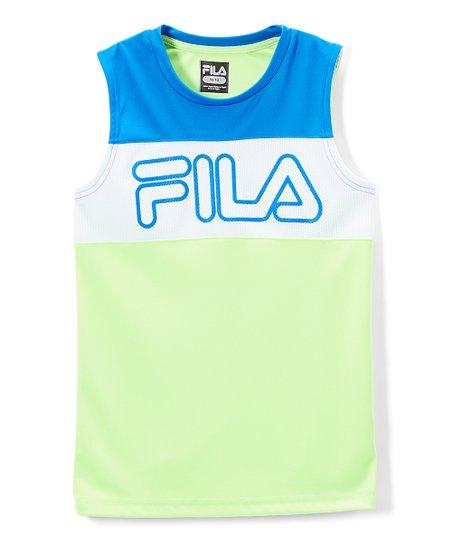 4646f1ce9e4e FILA Lime & Blue Color Block Core Tank - Boys | Zulily