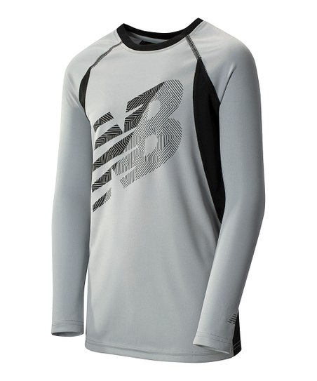 776e23c73b9cc New Balance Silver Mink & Black Long-Sleeve Performance Top | Zulily