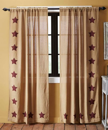Love This Product Burgundy Stars Burlap Curtain Panel Set Of Two