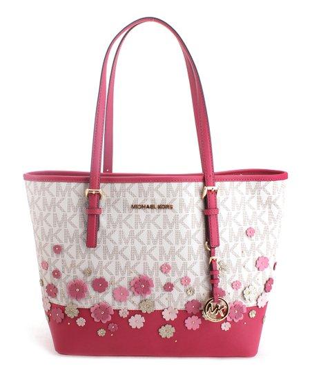 61a9c915799e Michael Kors Vanilla & Ultra Pink Floral Jet Set Travel Tote | Zulily