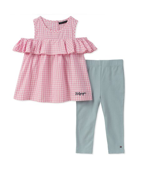 e581c5de6dd22e Tommy Hilfiger Pink & White Gingham Tunic & Gray Leggings | Zulily