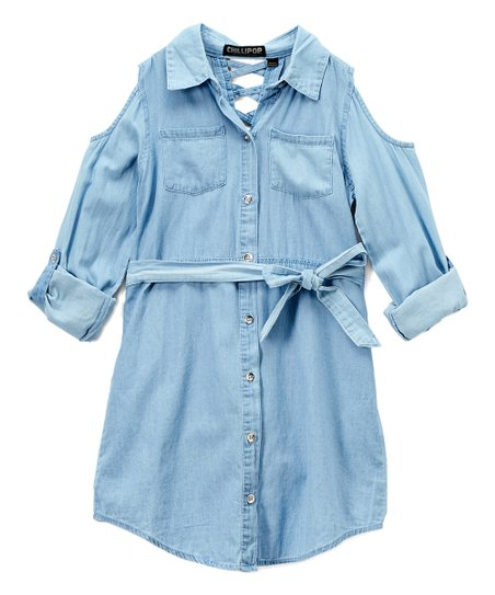 de49cd41544 Chillipop Light Blue Shoulder-Cutout Long-Sleeve Shirt Dress - Girls ...