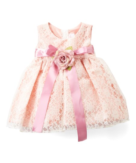 55476ede8daa3 Cinderella Couture Dusty Rose Floral Lace Dress - Infant   Zulily