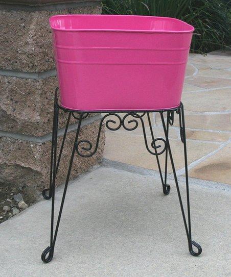 Kraft Klub Fuchsia Small Wash Tub Planter Stand Zulily