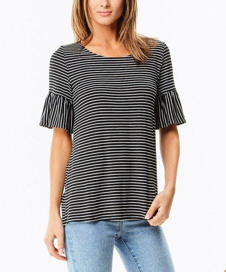 d679ae8653c56 LARA Fashion Black Pin Stripe Ruffle-Sleeve Swing Top - Women