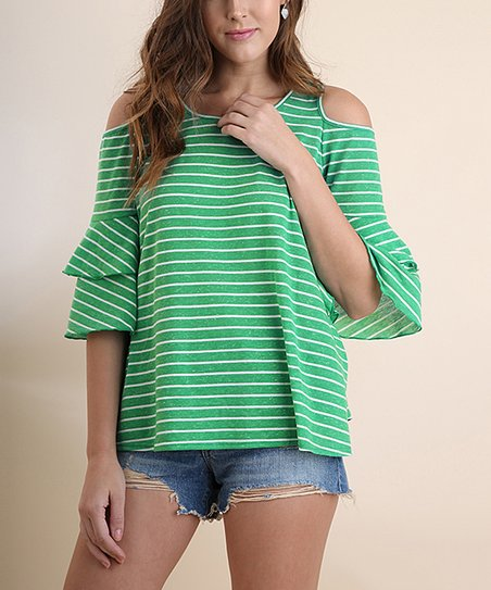58acc25bbd645 love this product Kelly Green Stripe Ruffle Shoulder-Cutout Bell-Sleeve Top  - Women
