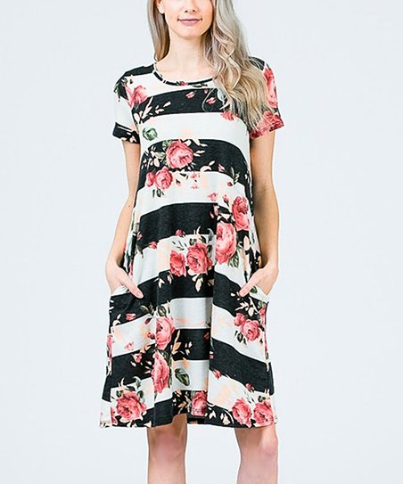 7bfb984efc love this product Black   Off-White Stripe Floral Shift Dress - Women