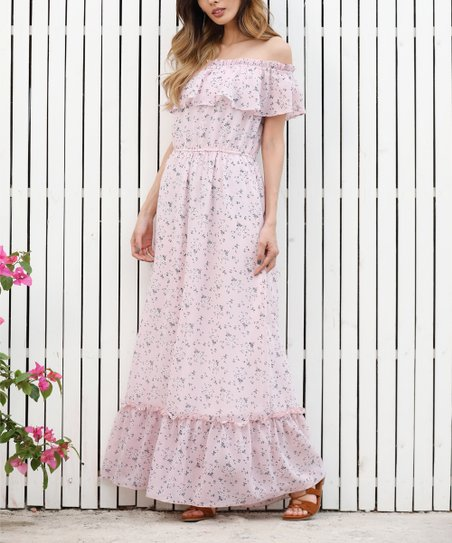 299b9cf0edf love this product Pink Floral Off-Shoulder Peasant Maxi Dress - Women