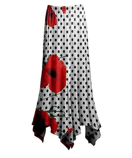 0d2cccc6b9 love this product White & Red Poppy Dot Handkerchief Maxi Skirt - Women &  Plus