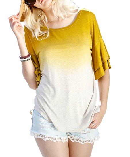 02c0cc1567860 love this product Mustard Tie-Dye Ruffle Sleeve Scoop Neck Top - Women
