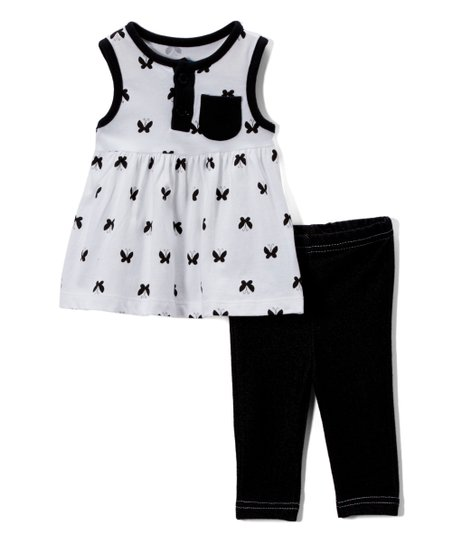 Bon Bb White Black Sleeveless Dress Jeggings Newborn