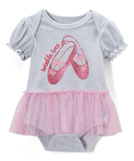 1bf1553b78 bon bébé Gray & Pink Ballet Shoe Skirted Bodysuit - Infant | Zulily