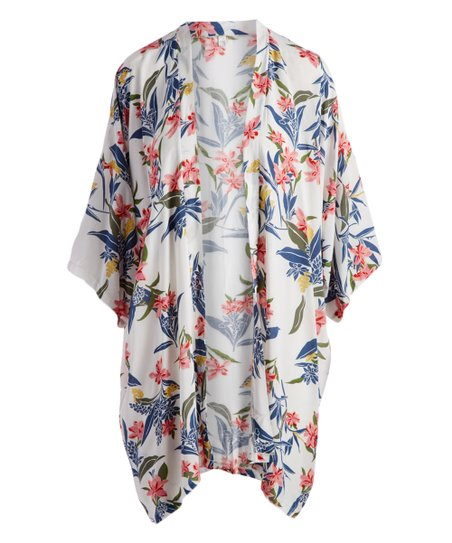 28dad44b23 LVS Collections Coral & White Floral Kimono | Zulily