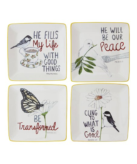 Square Bible Verse Decorative Plate - Set of Four