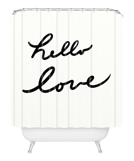 Love This Product White Black Hello Shower Curtain