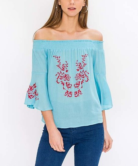 b6fdfaac987ea Flying Tomato Light Blue Floral Embroidered Bell-Sleeve Off-Shoulder ...