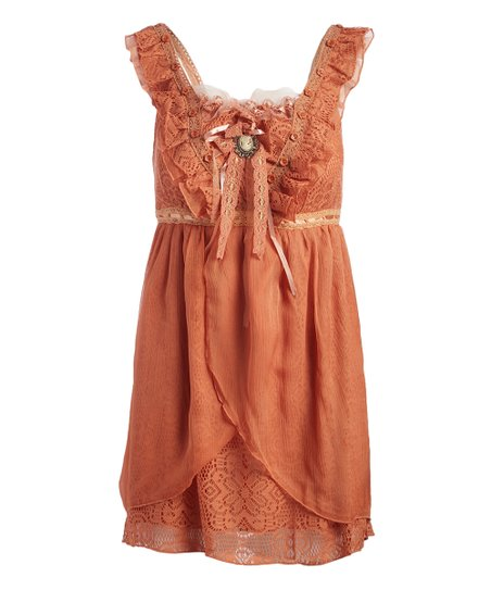 e918e85e4f0 love this product Orange Lace Linen-Blend Sleeveless Tunic