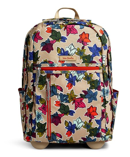 Vera Bradley Falling Flowers Neutral Lighten Up Rolling Backpack ... 7cc3e387a4