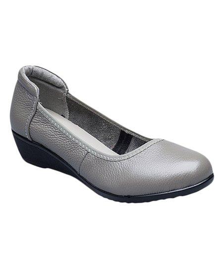 Rumour Has It Gray Leather Wedge Flat - Women  43b27768f45