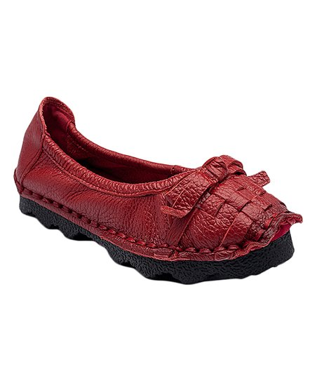 3b4ebc5c Rumour Has It Red Woven Leather Flat - Women   Zulily