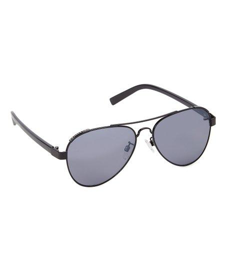 ab10abc227a H by Halston Black Metallic   Smoke Light Flash Aviator Sunglasses ...