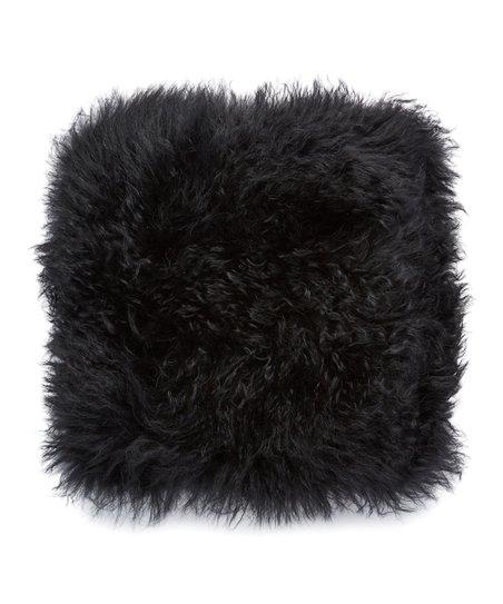Sprinkle   Bloom Black Mongolian Lamb Fur Throw Pillow  409bd632b9