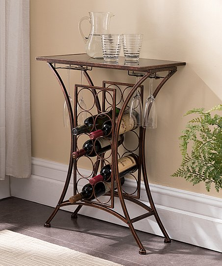 Pilaster Designs Brushed Copper Glass Top Transitional Wine Rack