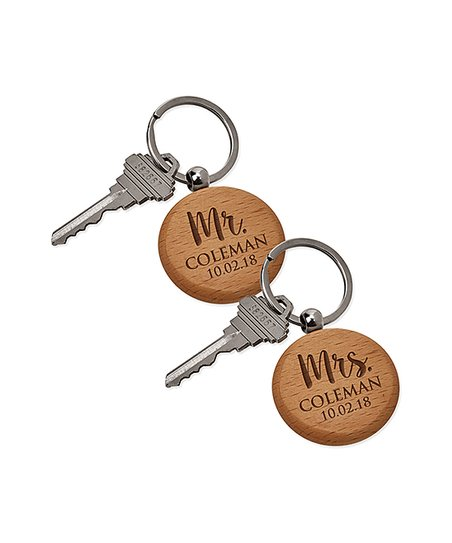 Personalized Planet 'Mr ' & 'Mrs ' Personalized Key Chain Set